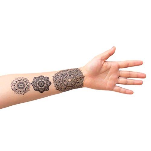 Oblique-Unique Tattoo Aufkleber Temporäre Körperkunst Entfernbar Mandala Sticker für Ihren Körper Weiß Schwarz
