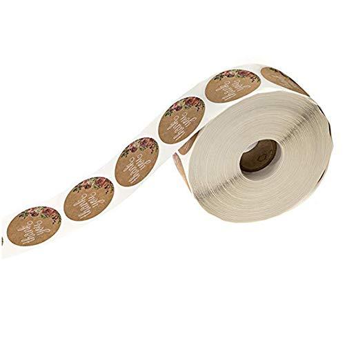 Lumanuby. 500 Stück Geschenkaufkleber Kraftpapier 'Thank You' Blühende Blumen Sealing Sticker für Kuchen/Cookie/Kekse/DIY Grüße für Kunden/Freunde 2.5x2.5cm Backen Zubehör - Aufkleber Siegel Serie (Cookie-kuchen)