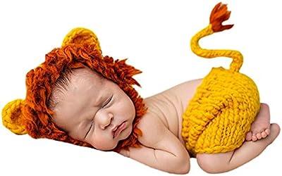 Happy cherry - Disfraz Trajes Apoyo de Fotografía Ropa de Fotos Para Bebés Niños Niñas de Punto de Ganchillo Pantalones Cortos Gorra Formado de Animales Lindo 2 pcs - León