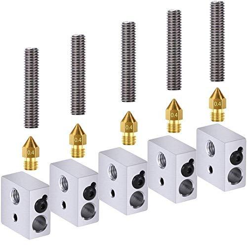 Tenlacum 15pcs 1.75mm teflon gola tubo + 0.4mm estrusore ugello stampa testine + riscaldatore blocchi hotend per mk8makerbot anet a8stampante 3d