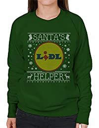 Coto7 Santas Lidl Helper Christmas Jumper Knit Pattern Womens Sweatshirt