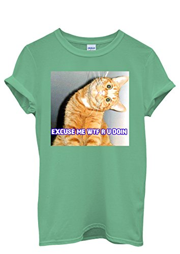 Cat Kitten WTF Meow Men Women Damen Herren Unisex Top T Shirt Grün