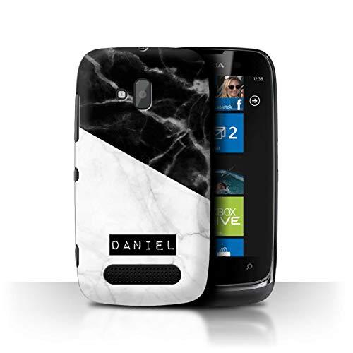 eSwish Personalisiert Individuell Weißer Anthrazit Marmor Hülle für Nokia Lumia 610 / Schwarzer Städtischer Stempel Design/Initiale/Name/Text Schutzhülle/Case/Etui -