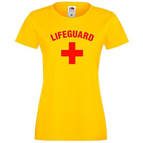 Damen-T-Shirt mit Schriftzug Lifeguard, Gelb Gr. One size, gelb