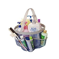 iSuperb® Shower Tote Silk Bath Organizer Shower Caddies Gym Travel College Dorm Beach Tote Bags with 8 Outer Pockets (Blue Silk Shower tote)