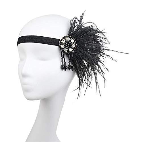 nbandzeremoniekugelkopfstückschwarzweiss-Federn hängendes Haarband der berühmten Familienartperlenquaste (Farbe : Schwarz) ()