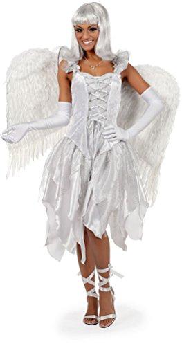 Karneval-Klamotten sexy Engel Kostüm Damen weiß kurz Karneval Weihnachten Damenkostüm Kleid ()