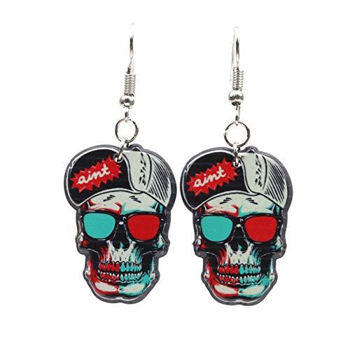 (Reosu Allerheiligen Totenkopf Halloween Deko Halloween Ohrringe Kunststoff 5.5 Länger White)
