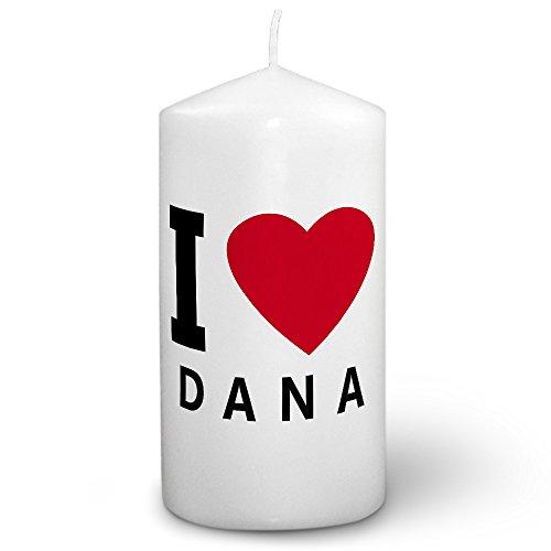 Dana Kerze (Kerze mit Namen Dana - Fotokerze mit Design I Love - romantische Wachskerze, Taufkerze, Hochzeitskerze, Stumpenkerze)