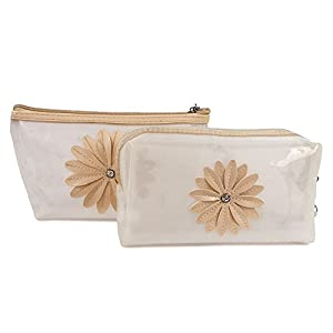 UberLyfe Cosmetics Pouch or Purse for Women – Transparent – Cream – Set of 2 (1179)