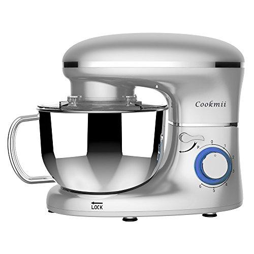Cookmii Geräuschlos1500W Küchenmaschine Rührmaschine Knetmaschine 6 Geschwindigkeit 5,5 L mit Edelstahlschüssel Teigmaschine (Silber)