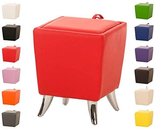 CLP Taburete Bajo de Almacenamiento Roxy I Taburete Reposapiés en Cuero Sintético I Otomana Almacenaje Moderna I Color: Rojo