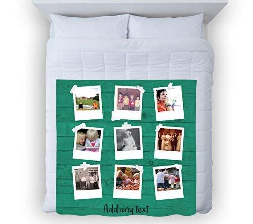 Große Warm Sofa Fleece Überwurf personalisierbar Polaroid Fotopapier türkis Holz Effekt Foto Fleece Weiche Bett Decke Stuhl