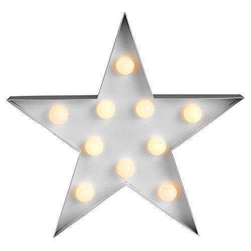 icase4u preciosa lámpara decorativa de mesa de luz LED Iluminación infantil nocturna para habitación de los niños o chicas con forma de cactus/nubes /piña /flamencos/árbol de Navidad /corazón/árbol de coco/I LOVE YOU (estrella blanca)