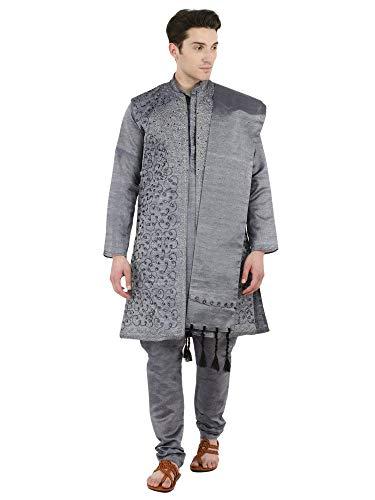 SKAVIJ Herren Kurta Pyjama Jacke und Stola Besticktes Kleid (Dunkelgrau, Small) Salwar Hose