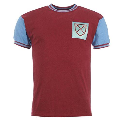 ScoreDraw Herren WHU 66 Retro Fussball Trikot Kurzarm Freizeit Shirt Claret/blau UK Large - Fußball-rugby-shirt