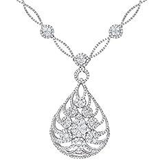 Idea Regalo - Naava Collana con Pendente da Donna, Oro Bianco, 18 Carati 750/1000, Diamante