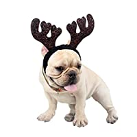 CHENPU Pet Christmas Headband Dog Cat Adjustable Reindeer Hair Band Xmas Party Pet Accessories