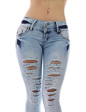 FARINA®1661 Denim pantalones, vaqueros de mujer, Push up/Levanta cola, pantalones vaqueros elasticos colombian...