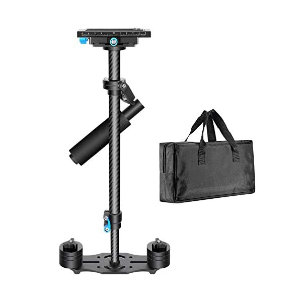 """Neewer, Carbon Fibre, 60 cm, Hand Stabiliser with 1/4"""" 3/8"""" Screw, Quick Release Plate for Canon, Nikon, Sony and Other DSLR Video Cameras, DV up to 3kg (Black)"""