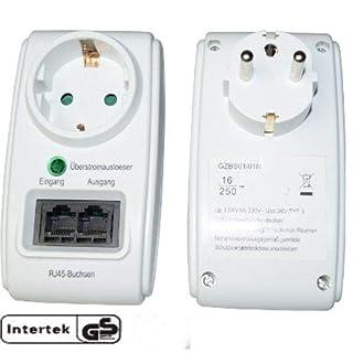 Schuko Zwischenstecker mit RJ45 Netzwerk LAN Kupplung und Überspannschutz