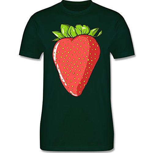 Shirtracer Statement Shirts - Erdbeere - Herren T-Shirt Rundhals Dunkelgrün