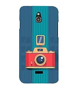 Fiobs Designer Back Case Cover for InFocus M2 (Multicolor Ethnic Design Blue Cemera)