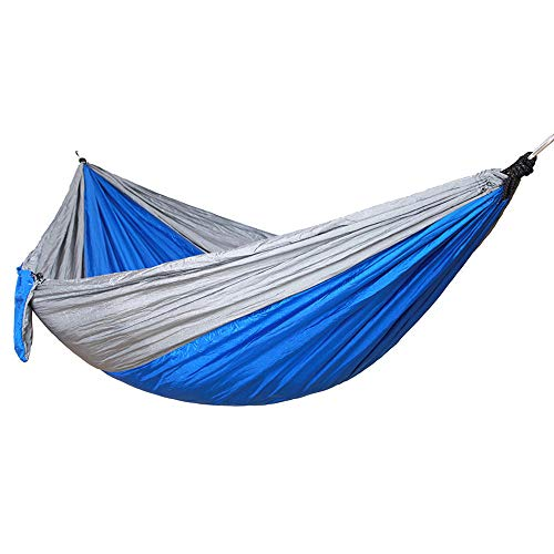 Outdoor Courtyard Anti-Rollover Canvas Hammock with Wooden Stick Single Double Camping Portable Hammock Swing - Blue_270*140 - Single Rope Swing