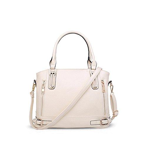 Nicole & Doris Elegante Elegante Tote Da Donna Borse Tracolla Crossbody Bag Borse A Tracolla Grande Borsa Pu Bianco Bianco