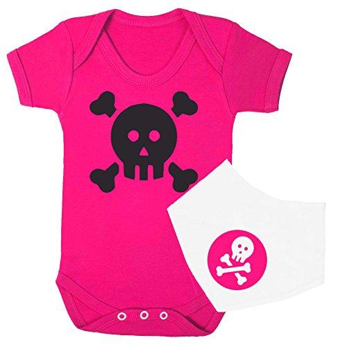 De calavera y de calavera Pirata Niñas Babygrow y Bandana babero Set '(Hot Rosa y Blanco) Talla:3-6 meses
