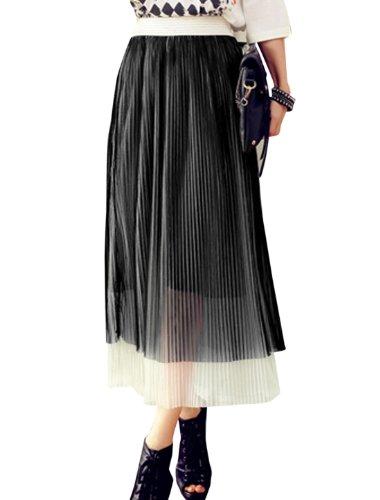 En maille pour femme Motif Sweet Taille élastique Jupe plissé Noir