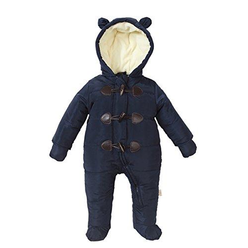 Bebone Baby Schneeanzug Jungen Mädchen Strampler Winter Babybekleidung (Marineblau, 0-3Monate)