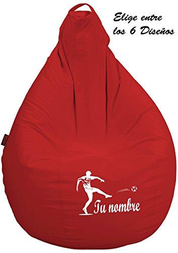 loconfort Puff pera Personalizado con TU Nombre Poli Piel Toffee (XL Adulto, Rojo)