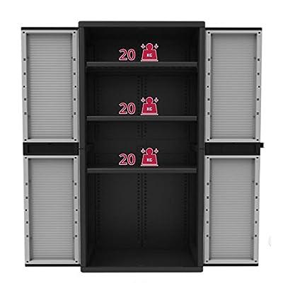 Kunststoff-Schrank Gartenschrank XL mit 3 Böden, grau/schwarz - 90 x 54 x 180 cm von BULTO auf Gartenmöbel von Du und Dein Garten