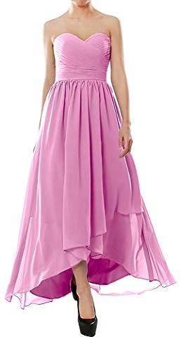MACloth Women Strapless Chiffon Hi Lo Bridesmaid Dress Wedding Party Formal Gown (46, Pink)