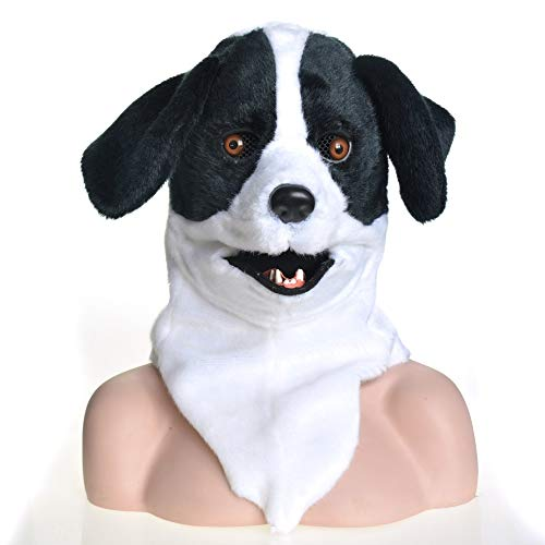 KX-QIN Voller Kopf Tier Moving Mouth Cosplay Karneval Kostüm Hund Bleich Tiermasken Deluxe Neuheit Halloween Kostüm Party Latex Tierkopf Maske for Erwachsene und Kinder (Color : Black)