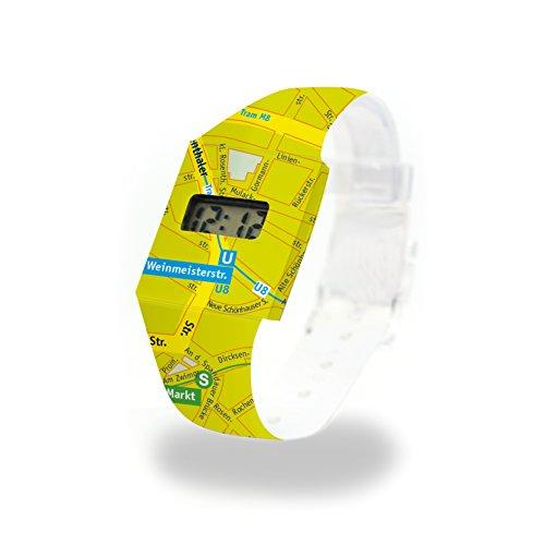 Lost In Berlin-Lemon cartón Watch/Paper Watch/Reloj de pulsera digital de Tyvek® Variante pu10921cartón Watch