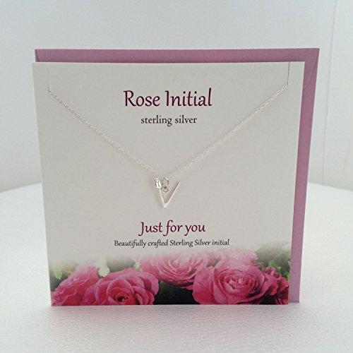 V Initiale Rose Sterling Silber Anhänger/Halskette (Beautiful Rose auf Buchstabe) von Sterling effectz