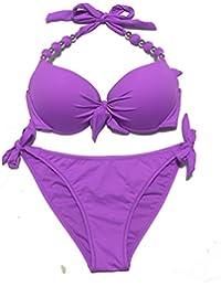 dbf4c8864962c EONAR Damen Seitlich Gebunden Bikini-sets Abnehmbar Bademode Push-up  Bikinioberteil mit Nackenträger