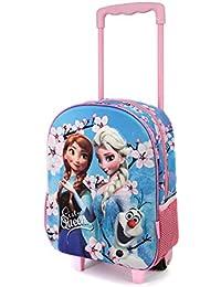 Karactermania - Frozen Sister Queens-3D - Sac à dos pour enfants avec roues - Mulitoclore (Rose/Bleu) - 38 cm, 12.5 L
