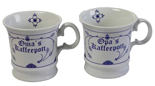 Porzellan Tassen 2er Set Omas+Opas Kaffeepott