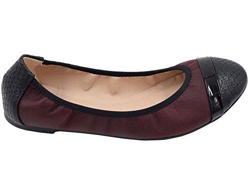 Greatonu Ladies Chiuso Ballerine Balletto Scarpe Basse Rosso Scuro