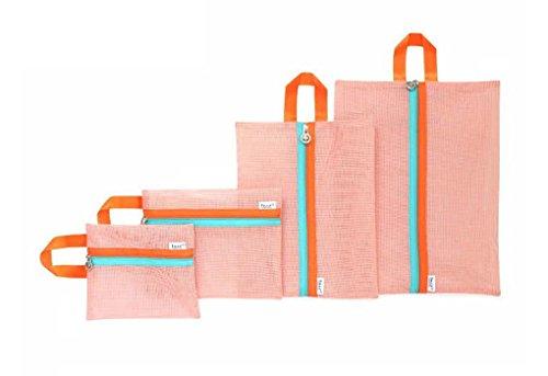 4er-Set Netz Stil Reisegepäck Wäsche Organizer Aufbewahrungstasche Kleidertasche Wäschebeutel kofferorganizer Schminktasche für Reise und Urlaub Orange