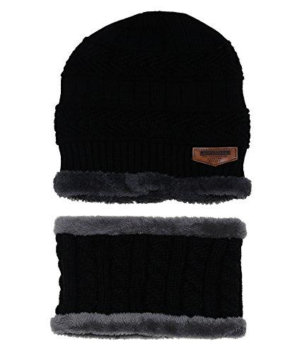 ZZLAY Sombrero de gorro de invierno grueso conjunto de bufanda Gorro de gorro de punto cálido nieve cubierto de nieve
