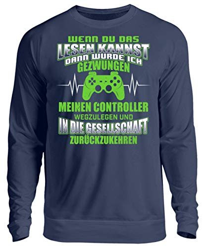 Shirtee Gamer Gamerin Zocker Zockerin Daddeln Videospieler Controller Gesellschaft Geschenk - Unisex Pullover -M-Marine-blau Marine Controller
