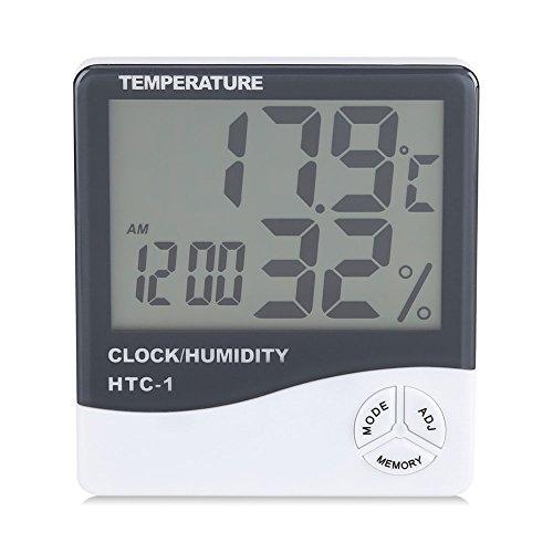 Fdit Thermometer Feuchtigkeit Monitor Temperatur Messgerät Innen Digital LCD Anzeige drahtloses Hygrometer mit Wecker -