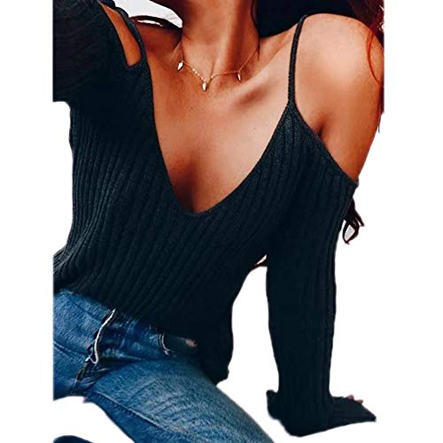 Bowen Jimmy Sexy Off Shoulder Flare Sleeve Women Hollow Out V-Neck Knitted Sweater Autumn Pullover Sweater Black XL -