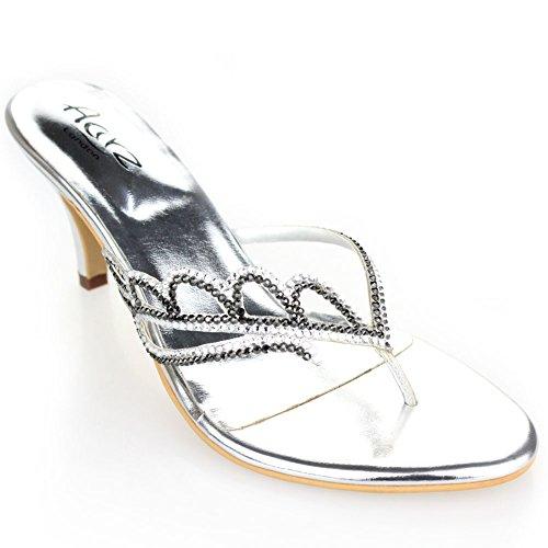 Aarz delle signore delle donne di sera del partito di cristallo Diamante da sposa Slip-On tacco medio sandalo Dimensioni (Oro, Argento, Marrone)