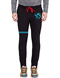 American-Elm Men's Black,Skyblue Stylish Brand Name Printed Lower