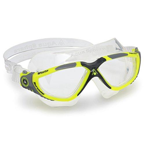 Aqua Sphere Unisex- Erwachsene Vista' Schwimmmaske, Yellow Grey/Clear Lens, Einheitsgröße